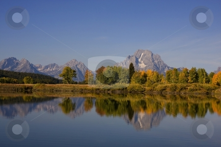 GrandTeton National Park stock photo, Fall reflections of Mt Moran in Grand Teton National Park by Mark Smith