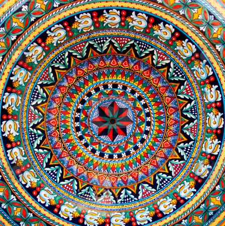 Painted ceramic stock photo, Detailed pattern on painted ceramic by Antony Zacharias