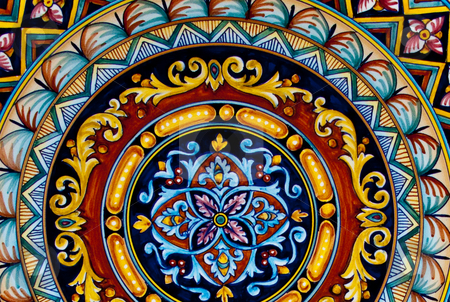 Painted ceramic stock photo, Detailed pattern on painted ceramic by Antony Zacharias