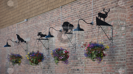Decorative Brick Wall of Hanging Floral Baskets stock photo, This decorative brick wall is a lined row of blooming hanging floral baskets with black iron animals above and lights. by Valerie Garner
