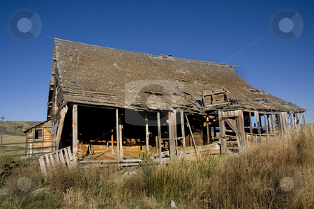 Hay Barn stock photo, Old Barn  with blue sky by Mark Smith