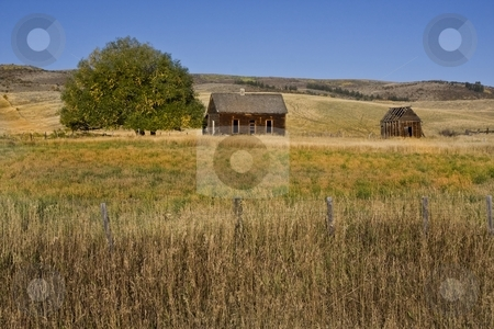 Americana stock photo, Abandoned farm with hay fields surrionding it by Mark Smith