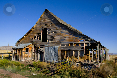 Americana stock photo, Old Barn Ready to fall down with blue sky's by Mark Smith