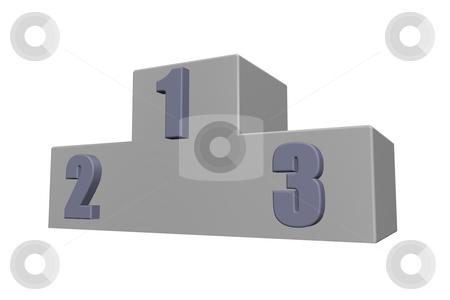 Win stock photo, Winner podium on white background - 3d illustration by J?