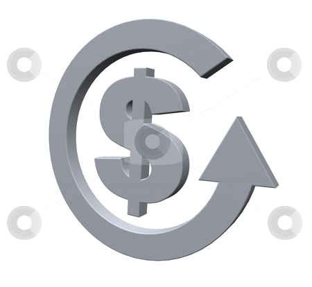 Bank loop stock photo, Dollar sign and cycle pointer on white background - 3d illustration by J?