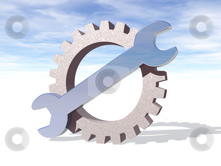 Repair stock photo, Wrench and gearwheel in front of cloudy sky - 3d illustration by J?
