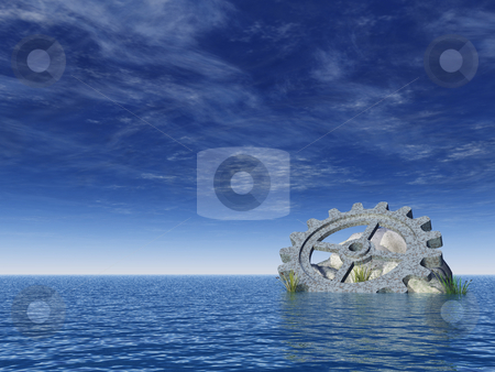 Gear wheel stock photo, Gear wheel, stones and reed in water landscape - 3d illustration by J?