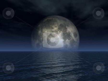 Luna stock photo, Full moon and ocean landscape - 3d illustration by J?