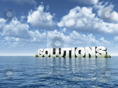 Solutions stock photo, The word solutions rock in water landscape - 3d illustration by J?