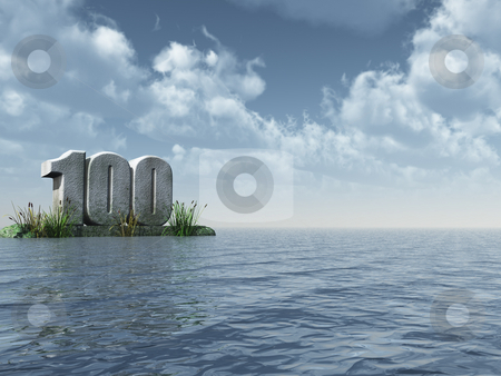One hundred stock photo, The number one hundred at the ocean - 3d illustration by J?