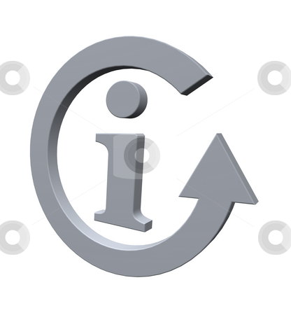 Info stock photo, Information symbol and cycle pointer on white background - 3d illustration by J?