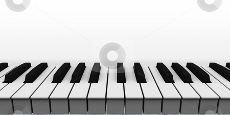 Piano stock photo, Piano keyboard on white background - 3d illustration by J?