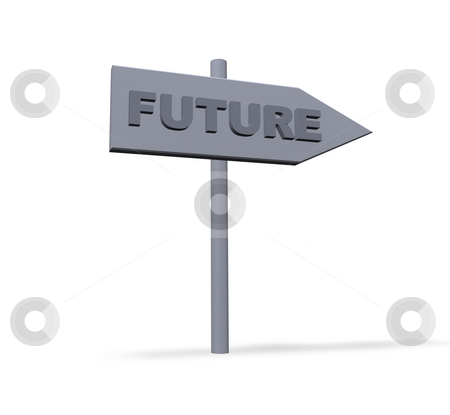 Future stock photo, Pointer to future direction - 3d illustration by J?