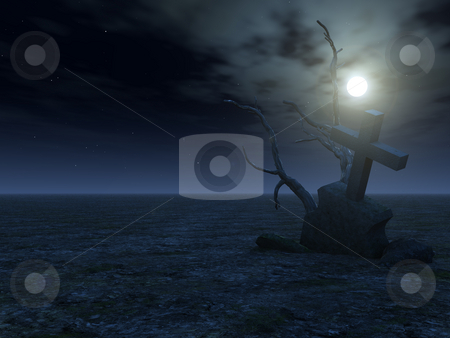 Grave stock photo, Desert with grave at night - 3d illustration by J?