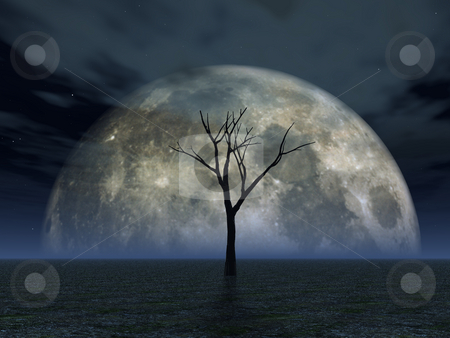 Luna stock photo, Lonely tree in desert and full moon - 3d illustration by J?