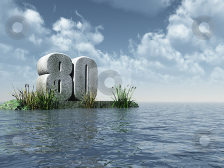 Number eighty stock photo, The number eighty - 80 -  at the ocean - 3d illustration by J?