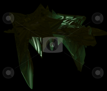 Futuristic stock photo, Futuristic abstract green thing on black background - 3d illustration by J?