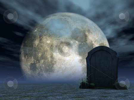 Grave stock photo, Gravestone in desert and full moon - 3d illustration by J?