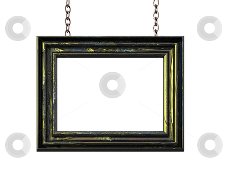 Blank stock photo, Picture frame on chains on white background - 3d illustration by J?