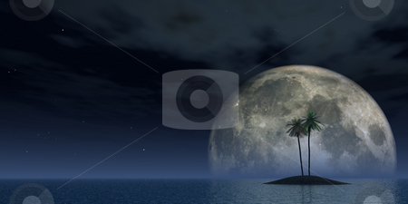 Palms stock photo, Island with palms and full moon - 3d illustration by J?