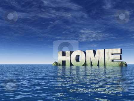 Home stock photo, The word home at the ocean - 3d illustration by J?