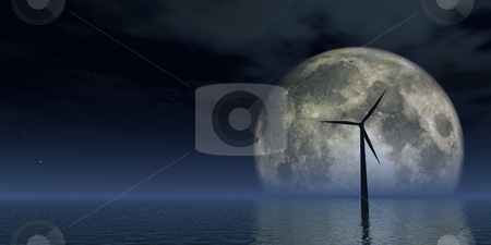 Windpower stock photo, Windmill at the ocean and full moon - 3d illustration by J?