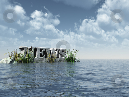 News stock photo, The word news in stone at the ocean - 3d illustration by J?