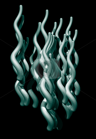 Flow stock photo, Abstract organic tentacles black background - 3d illustration by J?