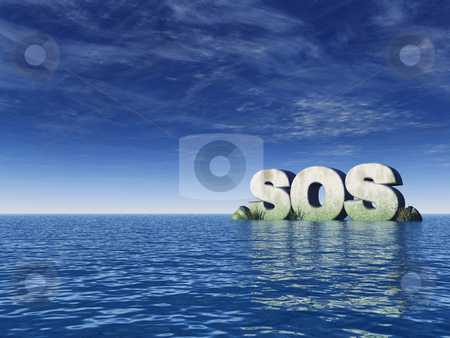 Sos stock photo, The word sos rock on the ocean - 3d illustration by J?