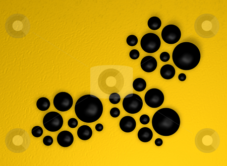Black balls stock photo, Yellow background abstract with black balls - 3d illustration by J?