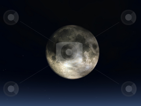 Full moon stock photo, Full moon and stars in the night - 3d illustration by J?