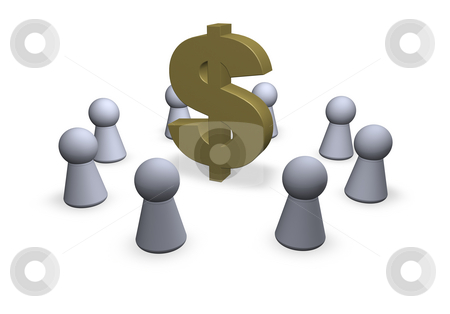 Dollar stock photo, Circle of play figures with dollar sign - 3d illustration by J?