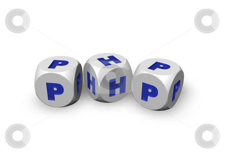 Php stock photo, Three dices with the letters php - 3d illustration by J?