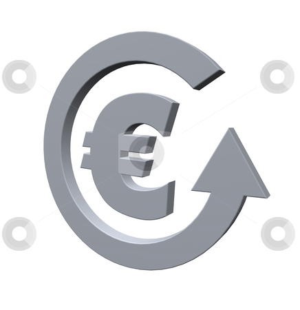 Euro stock photo, Euro sign and cycle pointer on white background - 3d illustration by J?