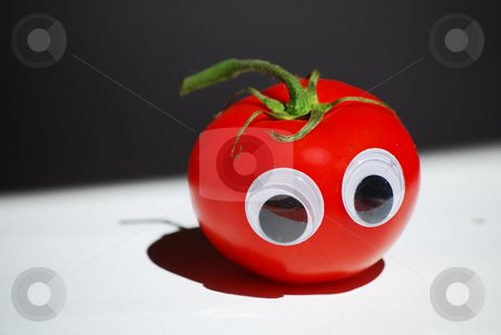 Tomato  stock photo, A tomato with eyes by Sarka