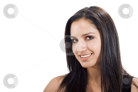 Friendly Woman stock photo, Stock photo of woman smiling at the camera, isolated on white by iodrakon