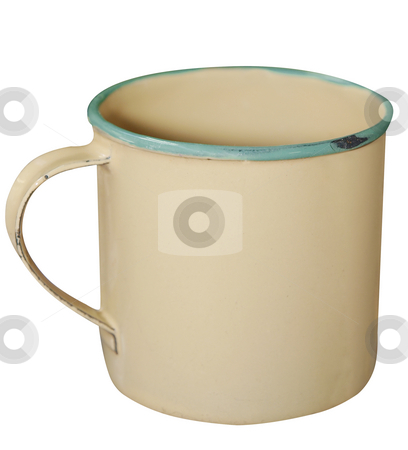 Cream and Green Enamel Mug stock photo, Cream and Green Enamel Mug isolated with clipping path. by Margo Harrison