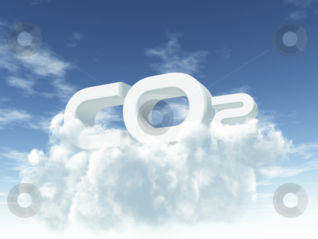 Co2 stock photo, White co2 on cloudy sky - 3d illustration by J?
