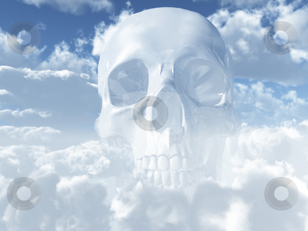 Skull stock photo, White skull in clouds - 3d illustration by J?