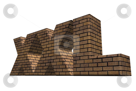 Xxl stock photo, Xxl brick wall on white background - 3d illustration by J?