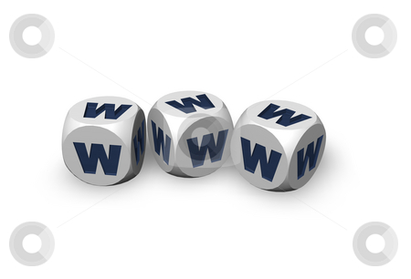 Www stock photo, Dices with the letters www on white background - 3d illustration by J?