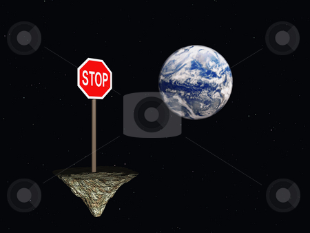 Stop stock photo, Stop sign in space and the earth - 3d illustration by J?