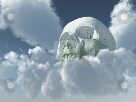 Skull stock photo, Skull in cloudy sky - 3d illustration by J?
