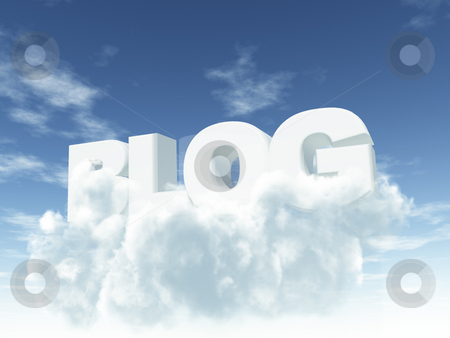Blog stock photo, The word blog in clouds - 3d illustration by J?