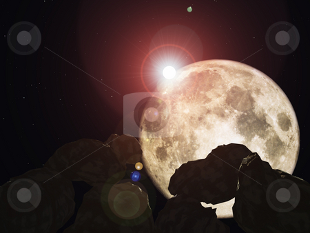Luna stock photo, Meteors and moon in space - 3d illustration by J?