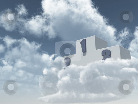 Win stock photo, Winner podium in cloudy sky - 3d illustration by J?