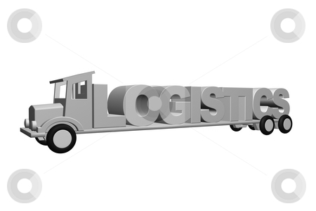 Logistics stock photo, The word logistics on an old truck - 3d illustration by J?