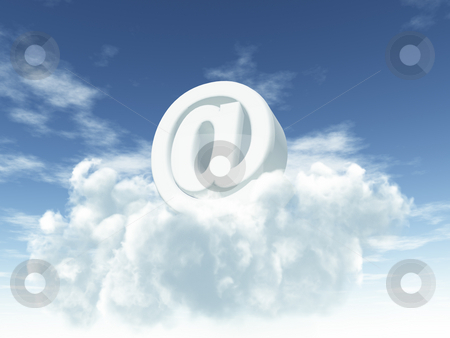 Heavenly email stock photo, White email alias on clouds - 3d illustration by J?
