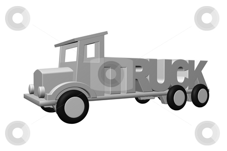 Truck stock photo, Old truck transports the word truck - 3d illustration by J?