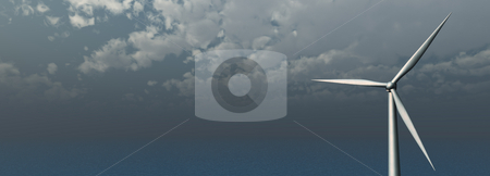 Eco power stock photo, Windmill at the ocean - banner - 3d illustration banner by J?